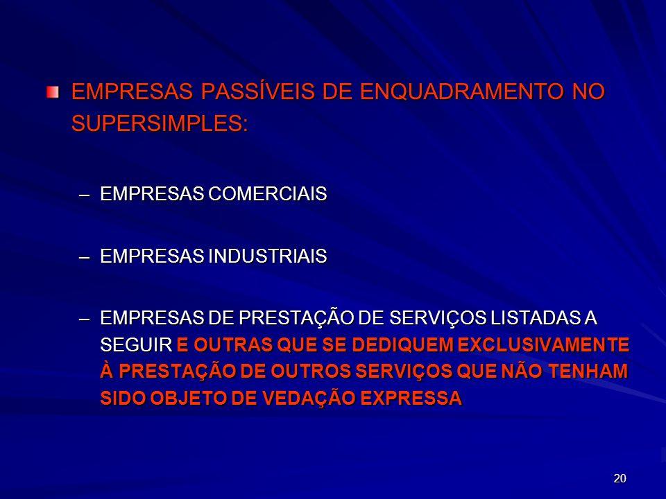EMPRESAS PASSÍVEIS DE ENQUADRAMENTO NO SUPERSIMPLES: