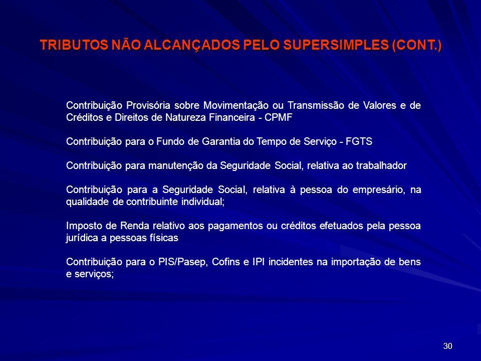 TRIBUTOS NÃO ALCANÇADOS PELO SUPERSIMPLES (CONT.)