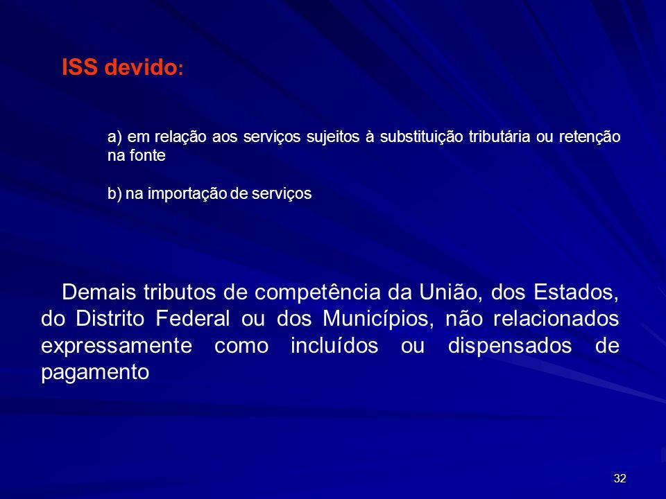 ISS devido: a) em relação aos serviços sujeitos à substituição tributária ou retenção na fonte. b) na importação de serviços.