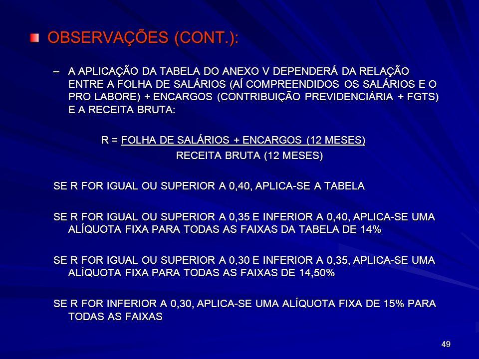 OBSERVAÇÕES (CONT.):