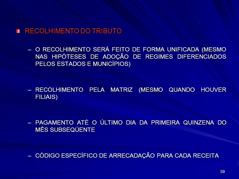 RECOLHIMENTO DO TRIBUTO