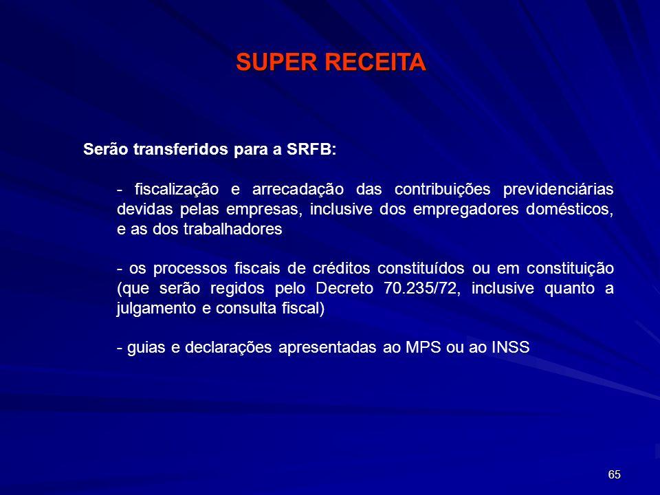 SUPER RECEITA Serão transferidos para a SRFB: