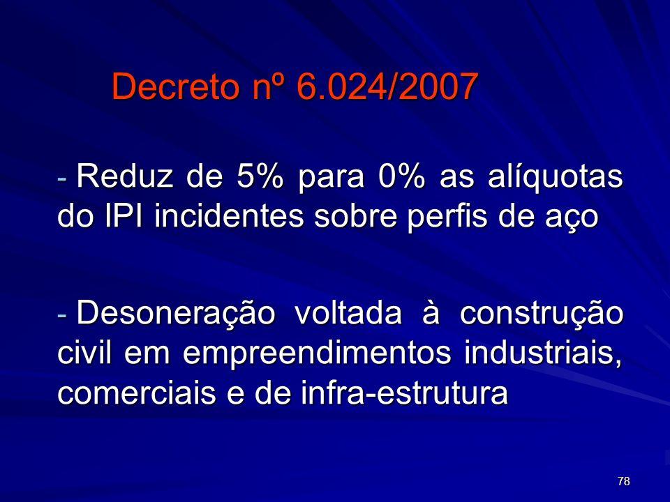 Decreto nº 6.024/2007 Reduz de 5% para 0% as alíquotas do IPI incidentes sobre perfis de aço.