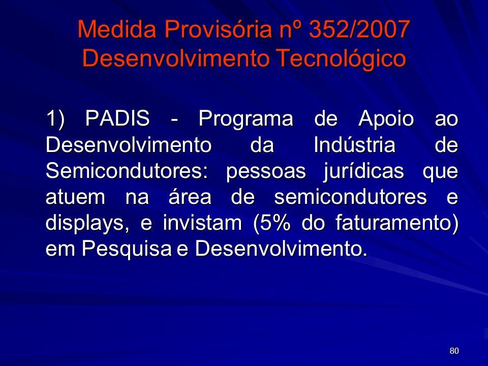Medida Provisória nº 352/2007 Desenvolvimento Tecnológico
