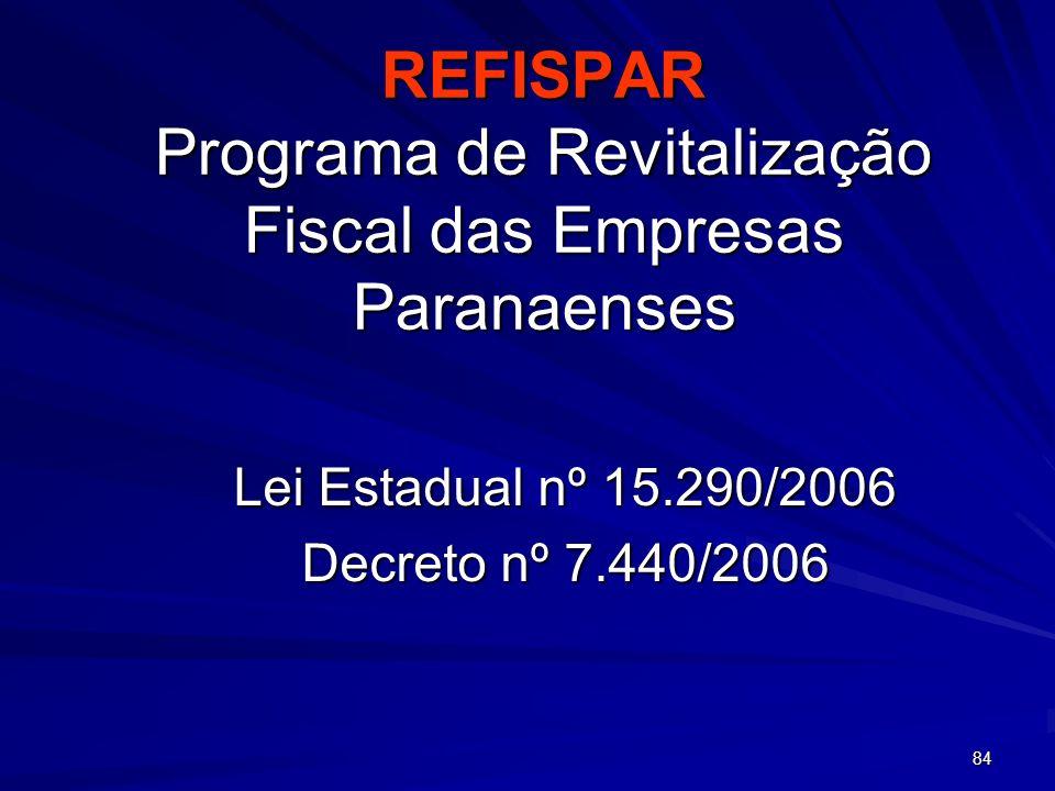 REFISPAR Programa de Revitalização Fiscal das Empresas Paranaenses