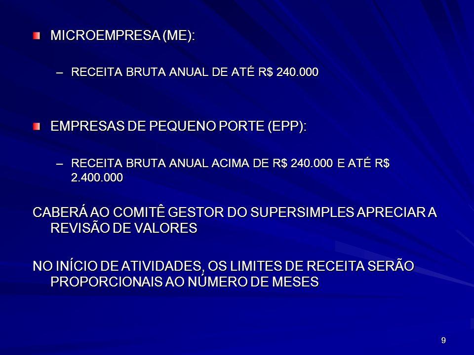EMPRESAS DE PEQUENO PORTE (EPP):