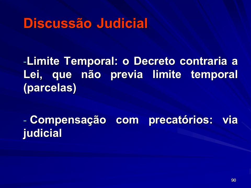 Discussão Judicial Limite Temporal: o Decreto contraria a Lei, que não previa limite temporal (parcelas)