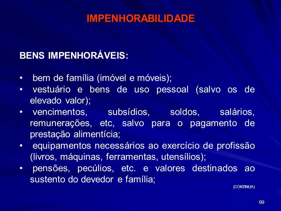IMPENHORABILIDADE BENS IMPENHORÁVEIS: