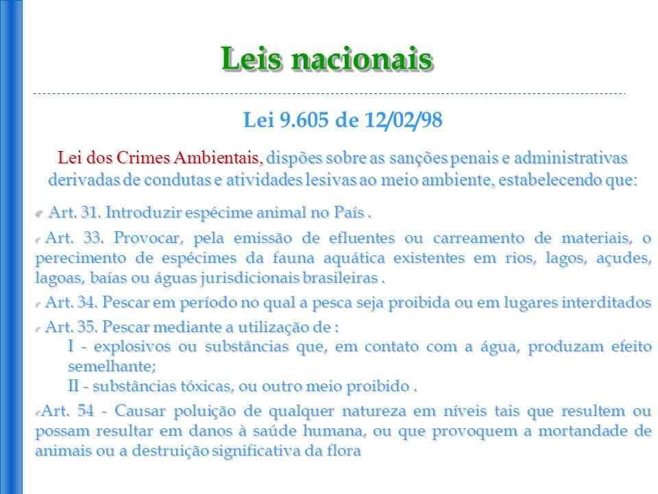 Leis nacionais Lei 9.605 de 12/02/98