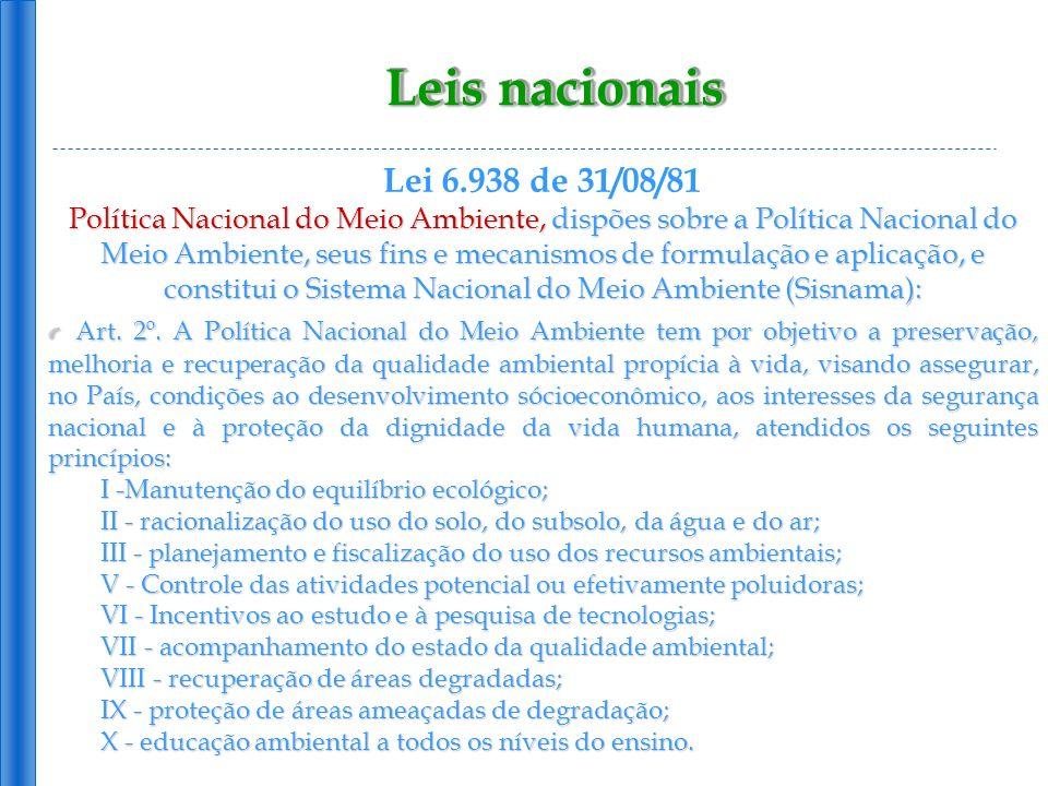 Leis nacionais Lei 6.938 de 31/08/81