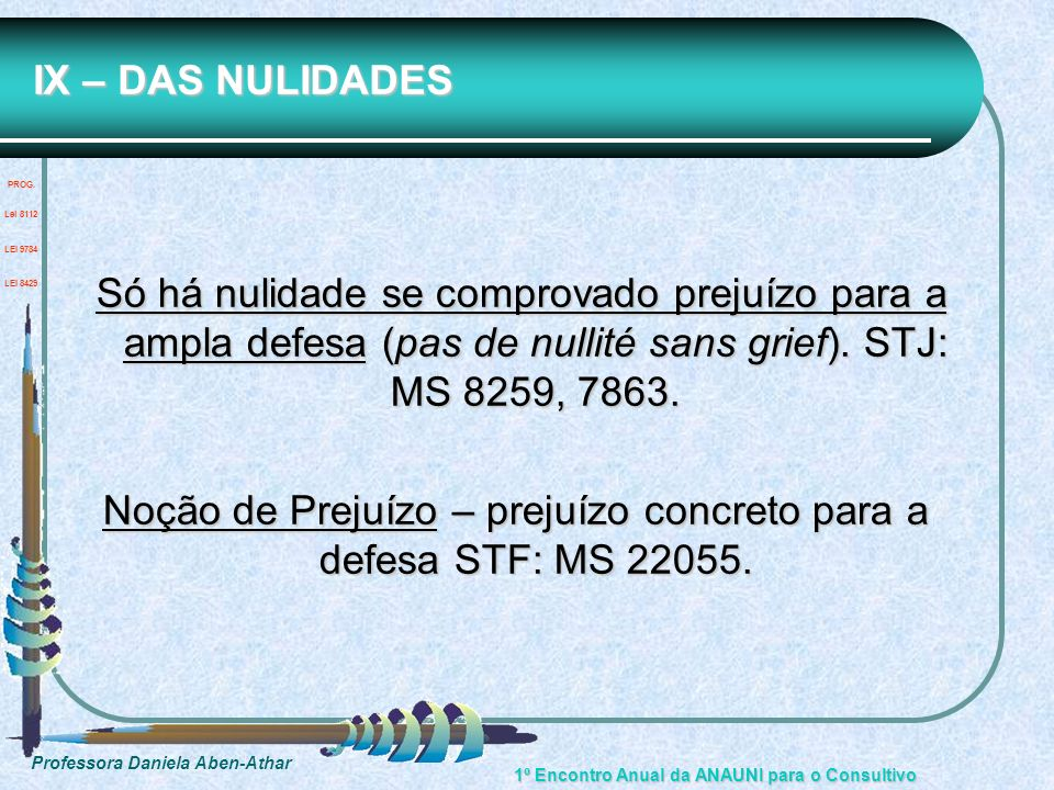 Noção de Prejuízo – prejuízo concreto para a defesa STF: MS 22055.