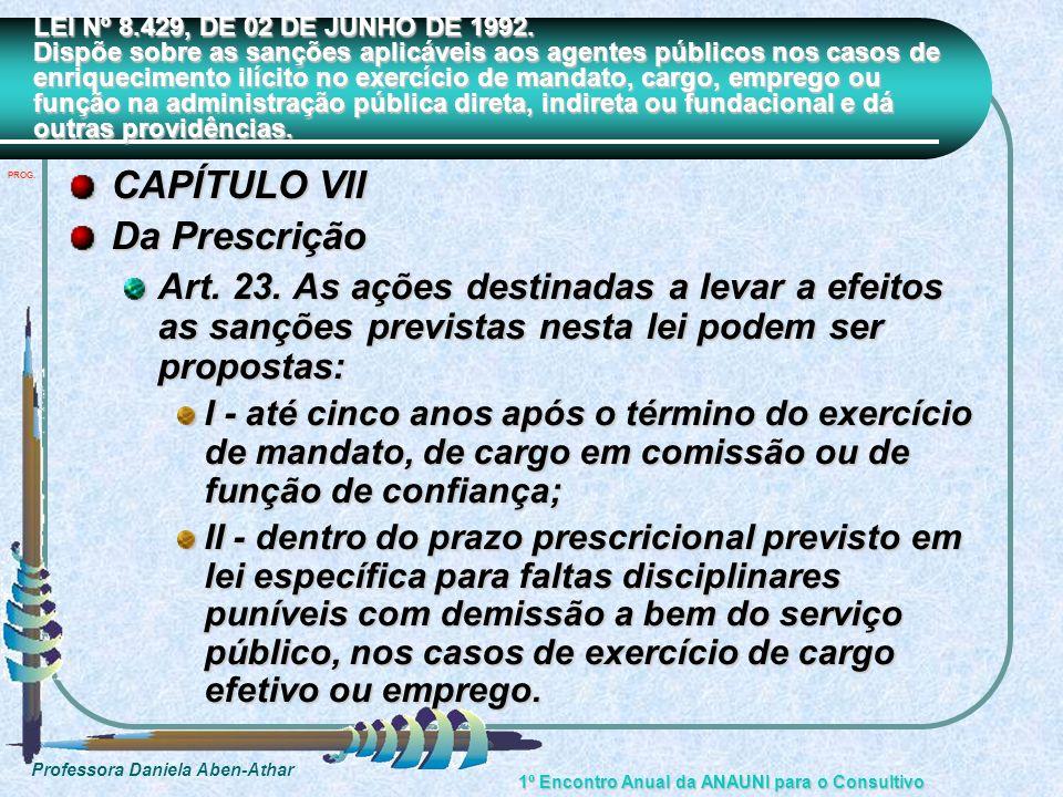 CAPÍTULO VII Da Prescrição