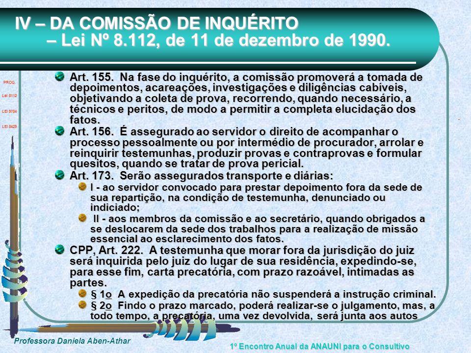 IV – DA COMISSÃO DE INQUÉRITO – Lei Nº 8