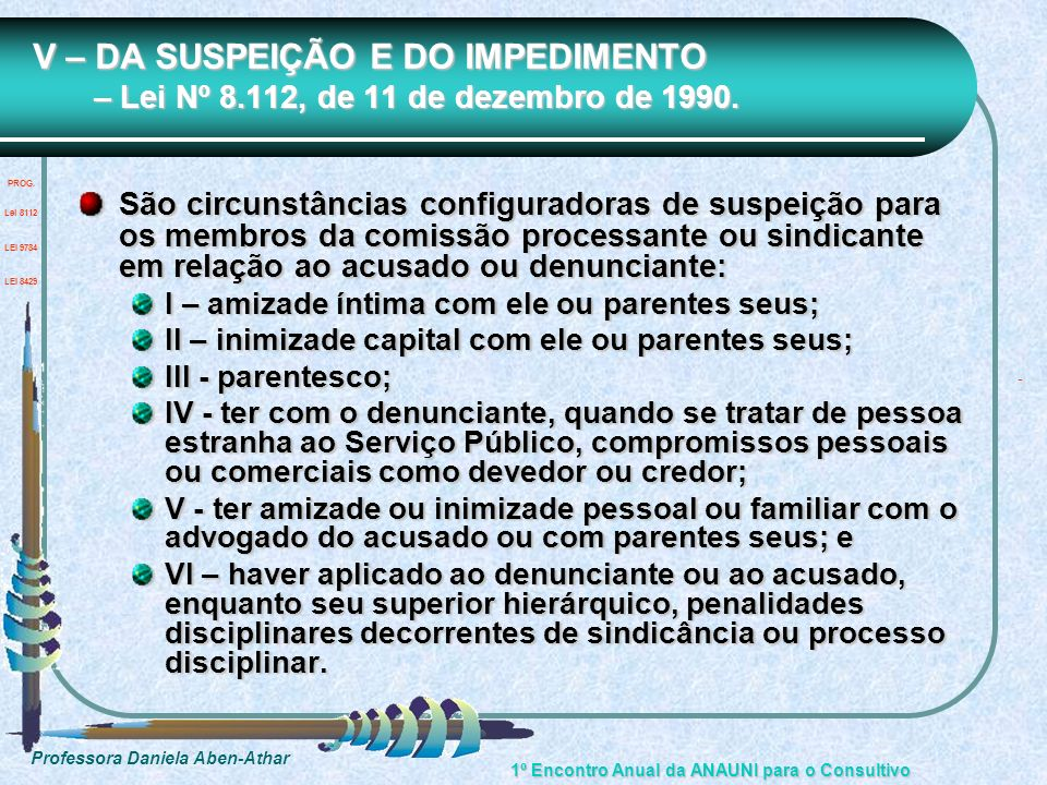 V – DA SUSPEIÇÃO E DO IMPEDIMENTO – Lei Nº 8
