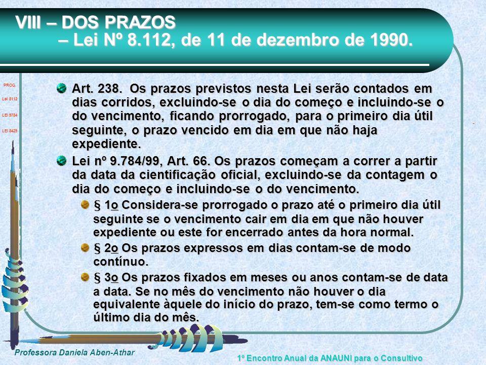 VIII – DOS PRAZOS – Lei Nº 8.112, de 11 de dezembro de 1990.
