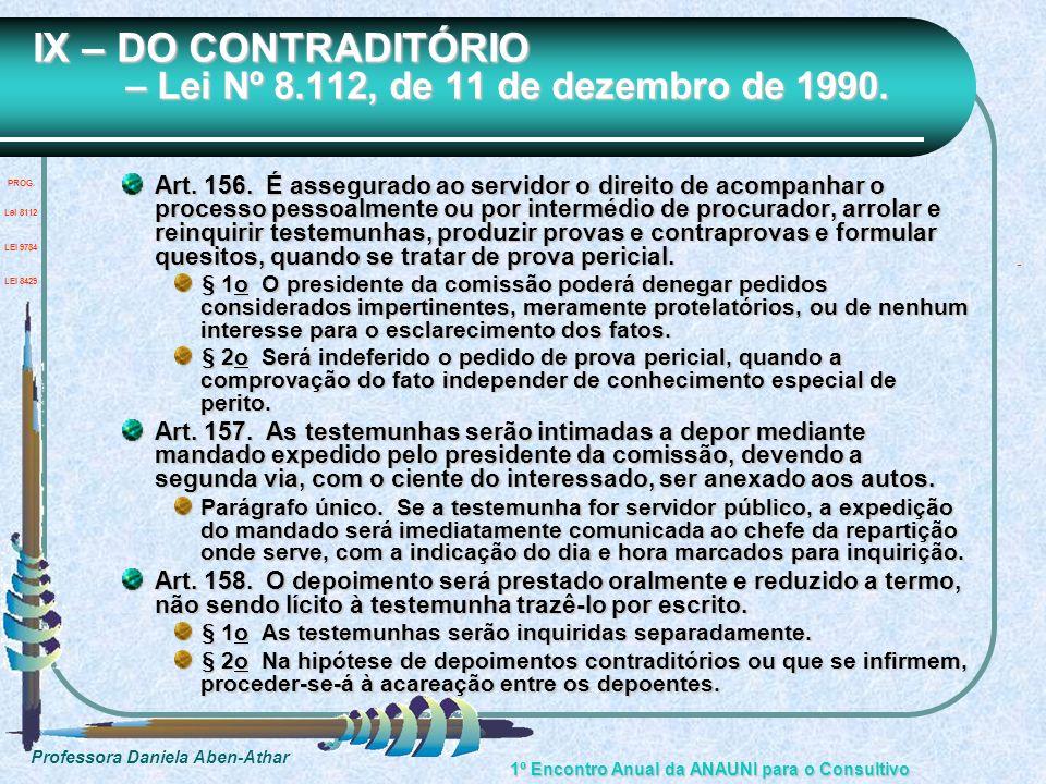 IX – DO CONTRADITÓRIO – Lei Nº 8.112, de 11 de dezembro de 1990.