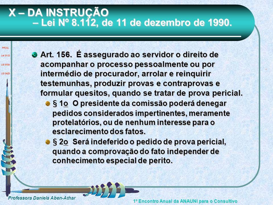 X – DA INSTRUÇÃO – Lei Nº 8.112, de 11 de dezembro de 1990.