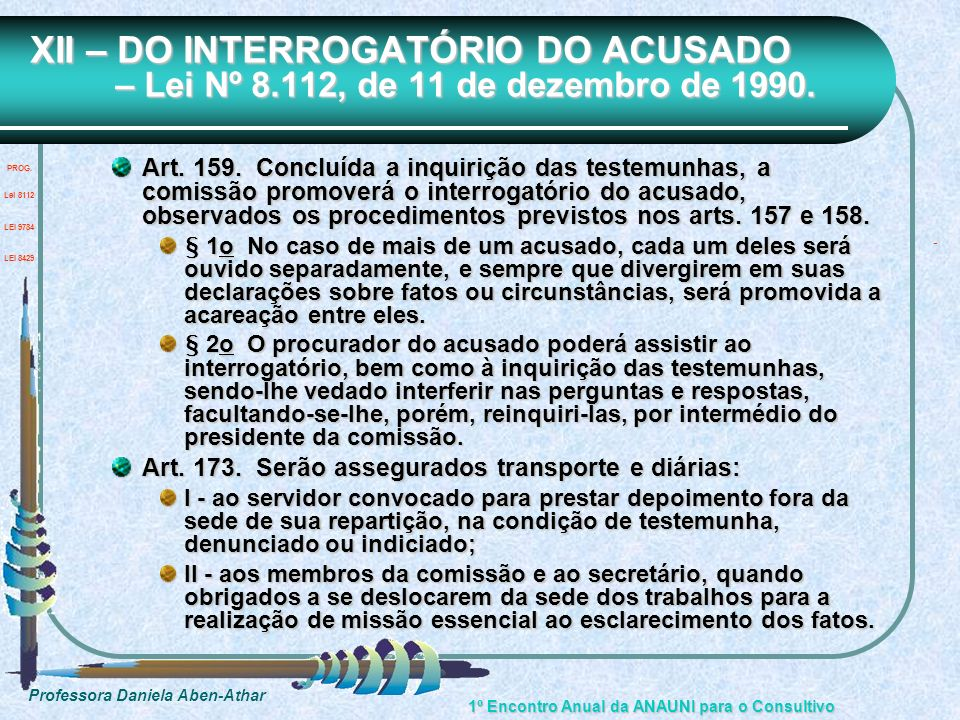 XII – DO INTERROGATÓRIO DO ACUSADO – Lei Nº 8