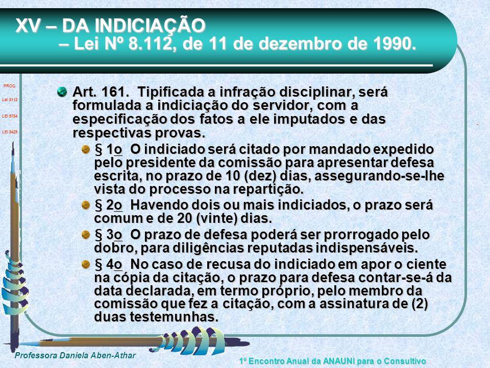 XV – DA INDICIAÇÃO – Lei Nº 8.112, de 11 de dezembro de 1990.