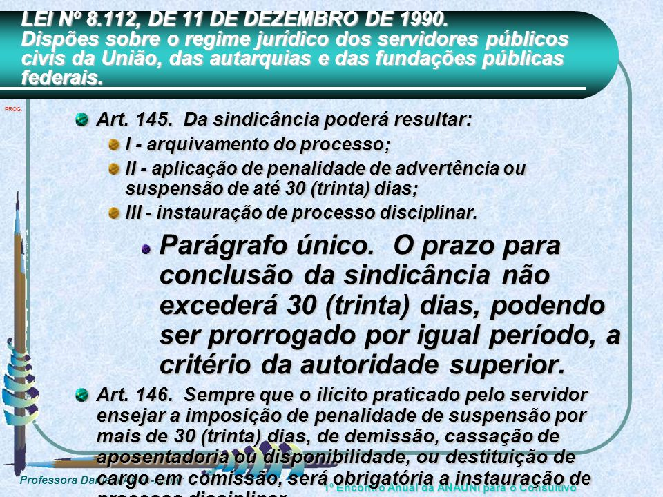 LEI Nº 8.112, DE 11 DE DEZEMBRO DE 1990. Dispões sobre o regime jurídico dos servidores públicos civis da União, das autarquias e das fundações públicas federais.