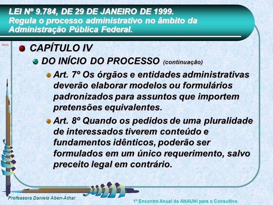 CAPÍTULO IV DO INÍCIO DO PROCESSO (continuação)