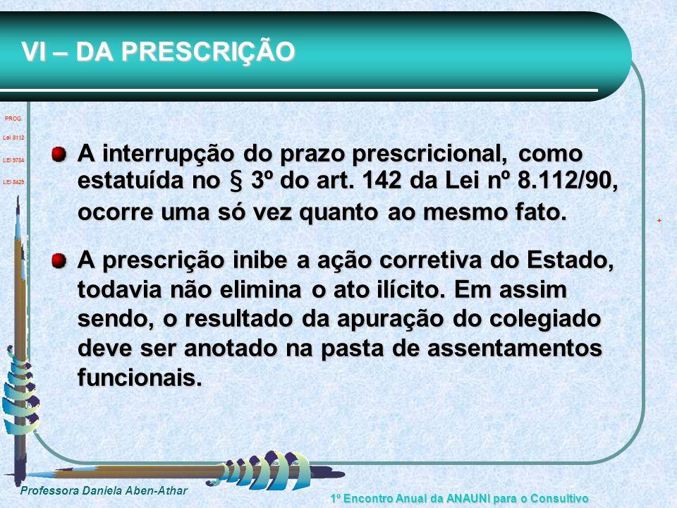 VI – DA PRESCRIÇÃO PROG. Lei 8112.