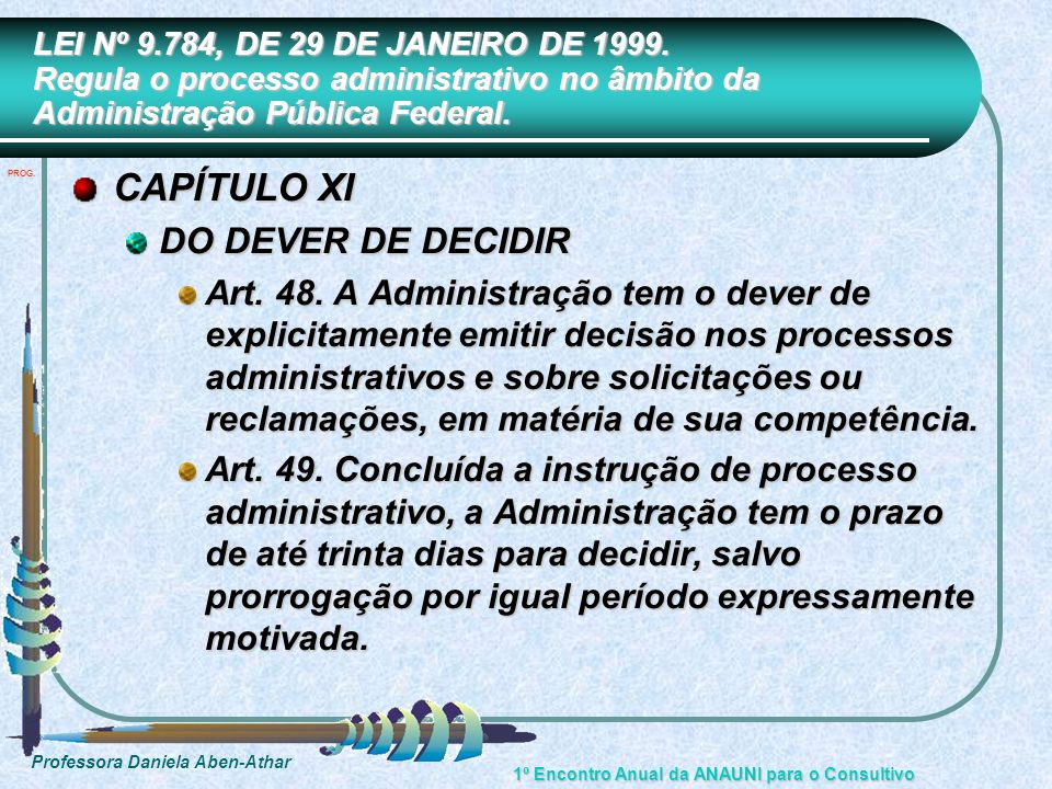 CAPÍTULO XI DO DEVER DE DECIDIR