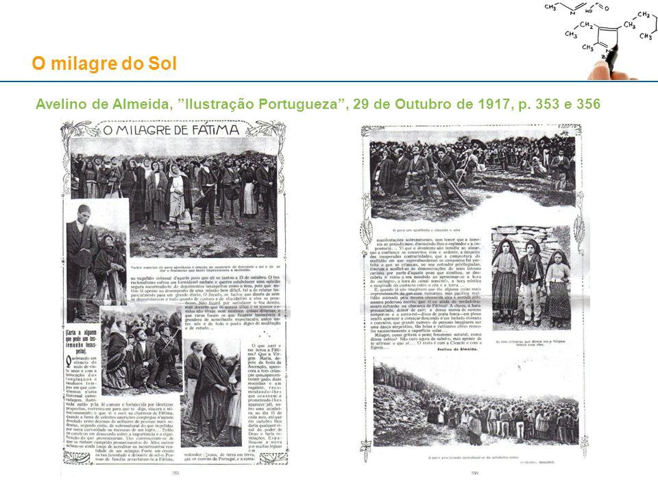 O milagre do Sol Avelino de Almeida, Ilustração Portugueza , 29 de Outubro de 1917, pp. 354-355. Fontes: