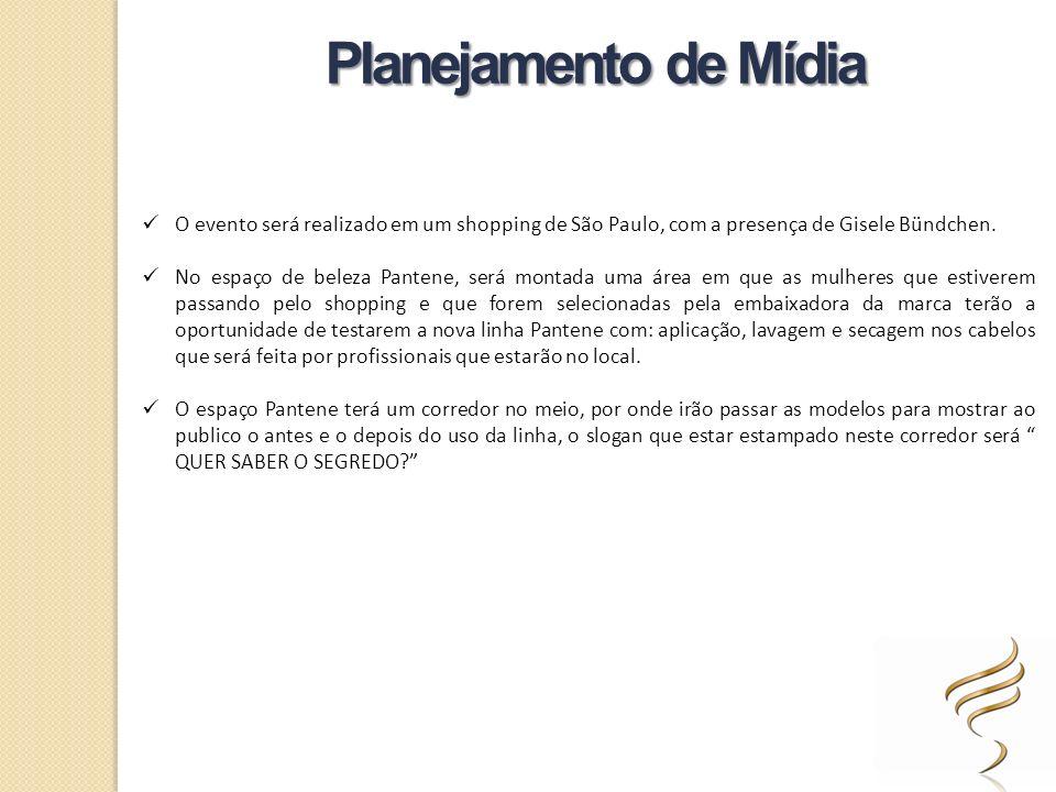 Planejamento de Mídia O evento será realizado em um shopping de São Paulo, com a presença de Gisele Bündchen.