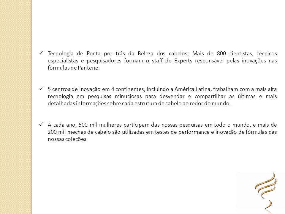 Tecnologia de Ponta por trás da Beleza dos cabelos; Mais de 800 cientistas, técnicos especialistas e pesquisadores formam o staff de Experts responsável pelas inovações nas fórmulas de Pantene.