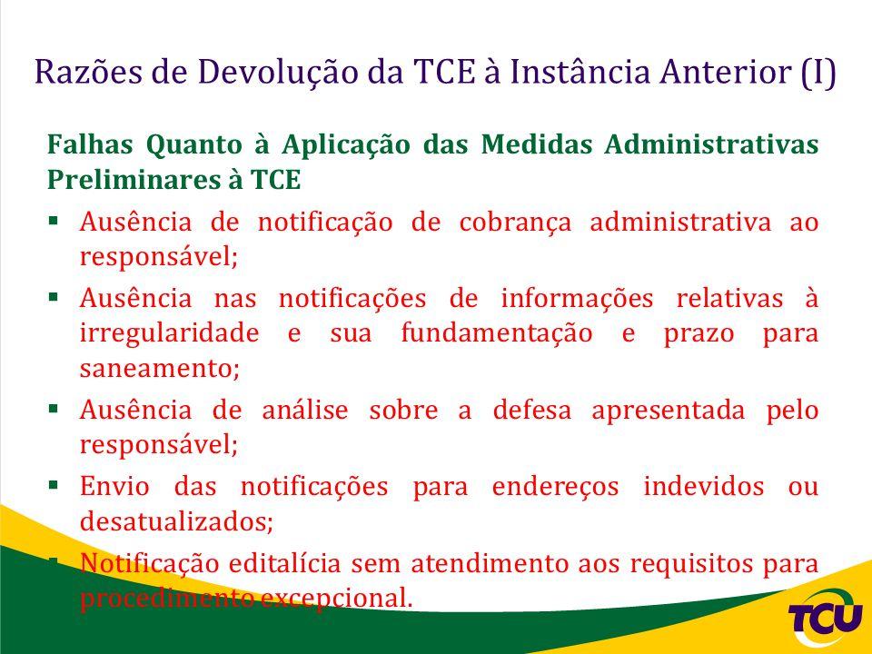 Razões de Devolução da TCE à Instância Anterior (I)