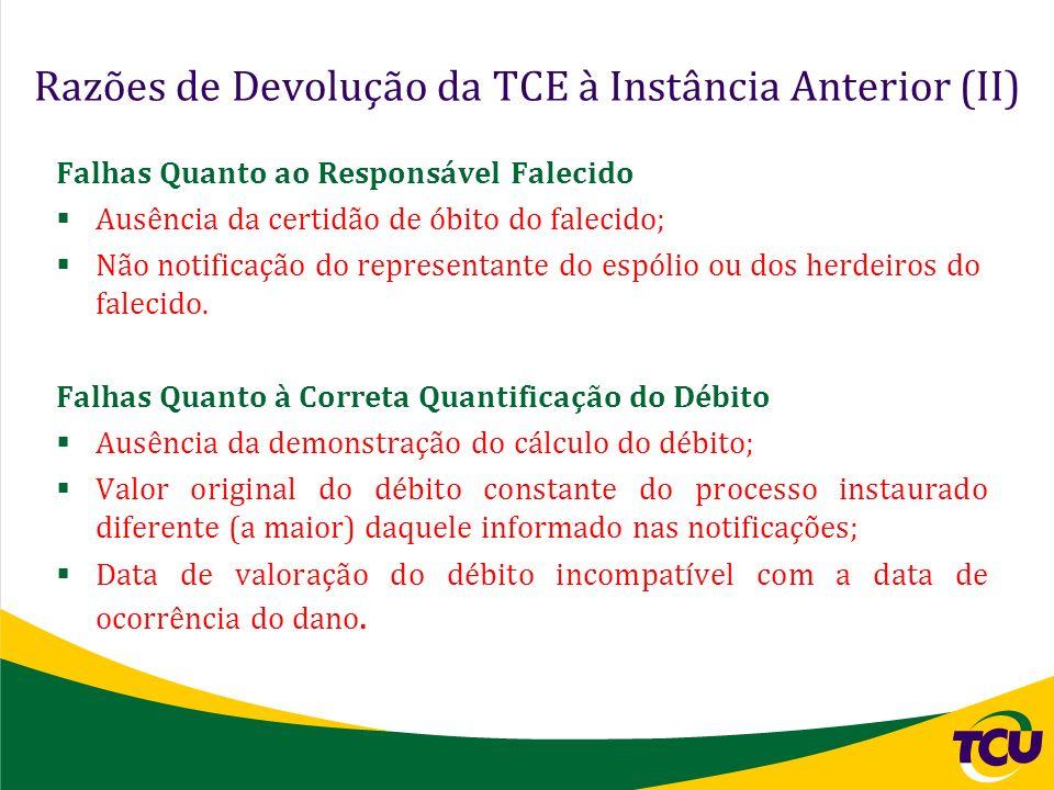 Razões de Devolução da TCE à Instância Anterior (II)