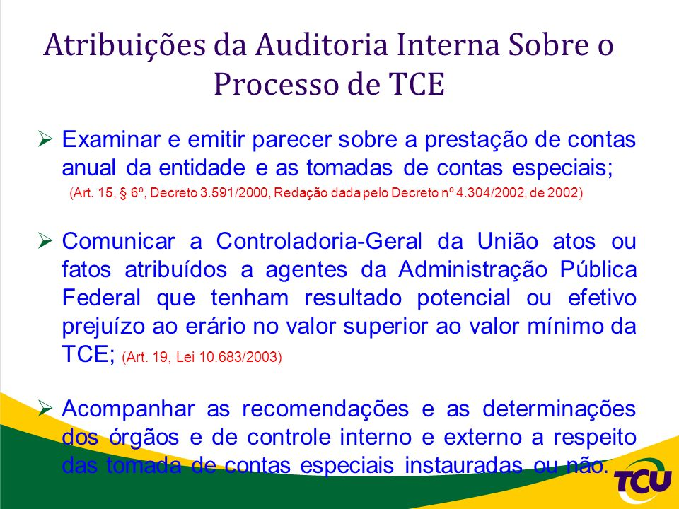 Atribuições da Auditoria Interna Sobre o Processo de TCE