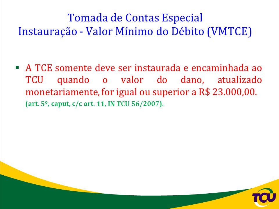 Tomada de Contas Especial Instauração - Valor Mínimo do Débito (VMTCE)