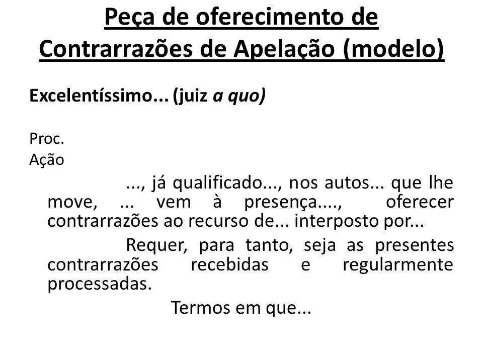 Peça de oferecimento de Contrarrazões de Apelação (modelo)