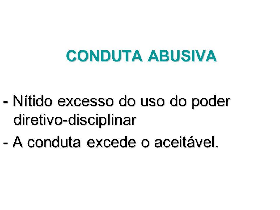 CONDUTA ABUSIVA - Nítido excesso do uso do poder diretivo-disciplinar.