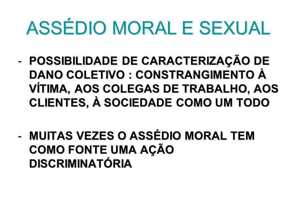 ASSÉDIO MORAL E SEXUAL