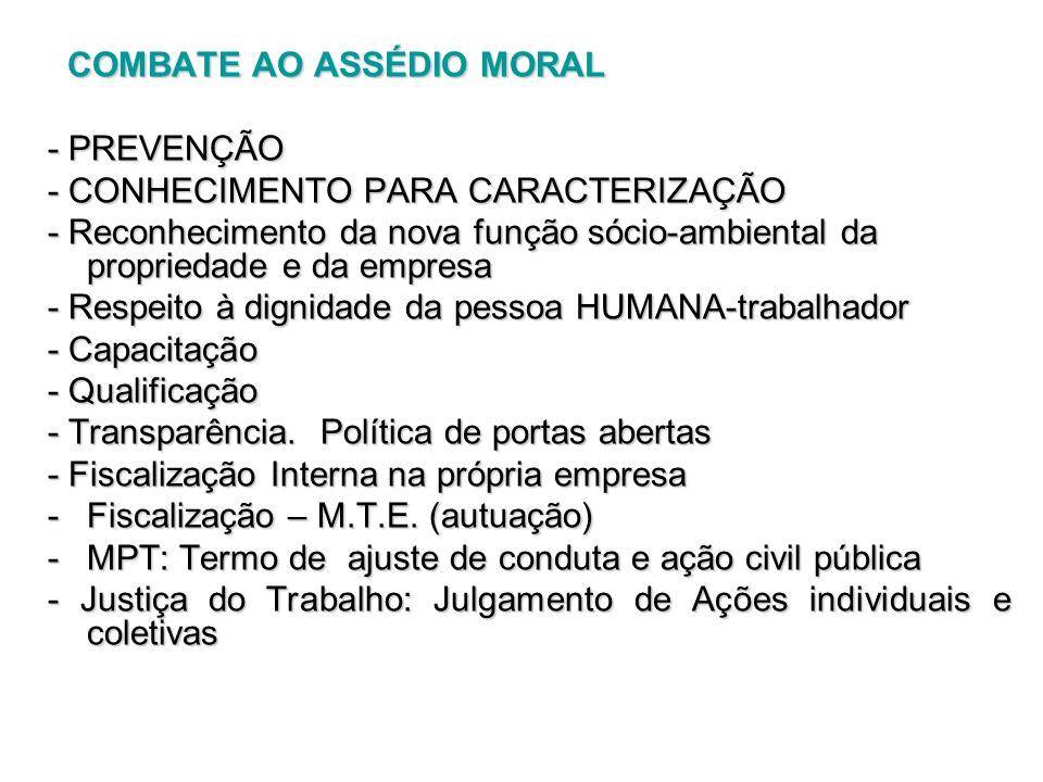 COMBATE AO ASSÉDIO MORAL