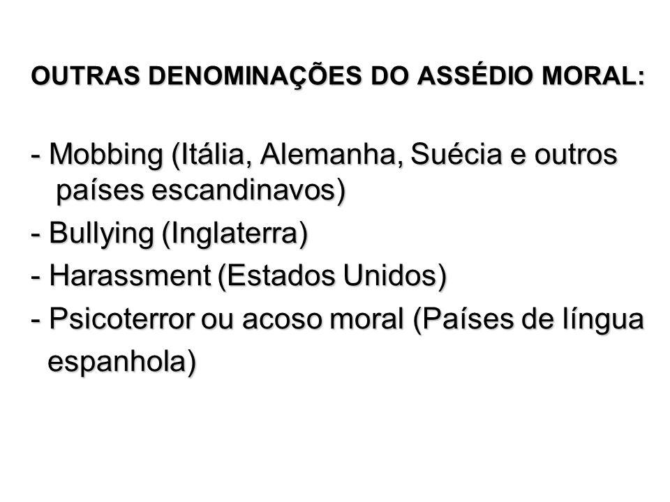 - Mobbing (Itália, Alemanha, Suécia e outros países escandinavos)