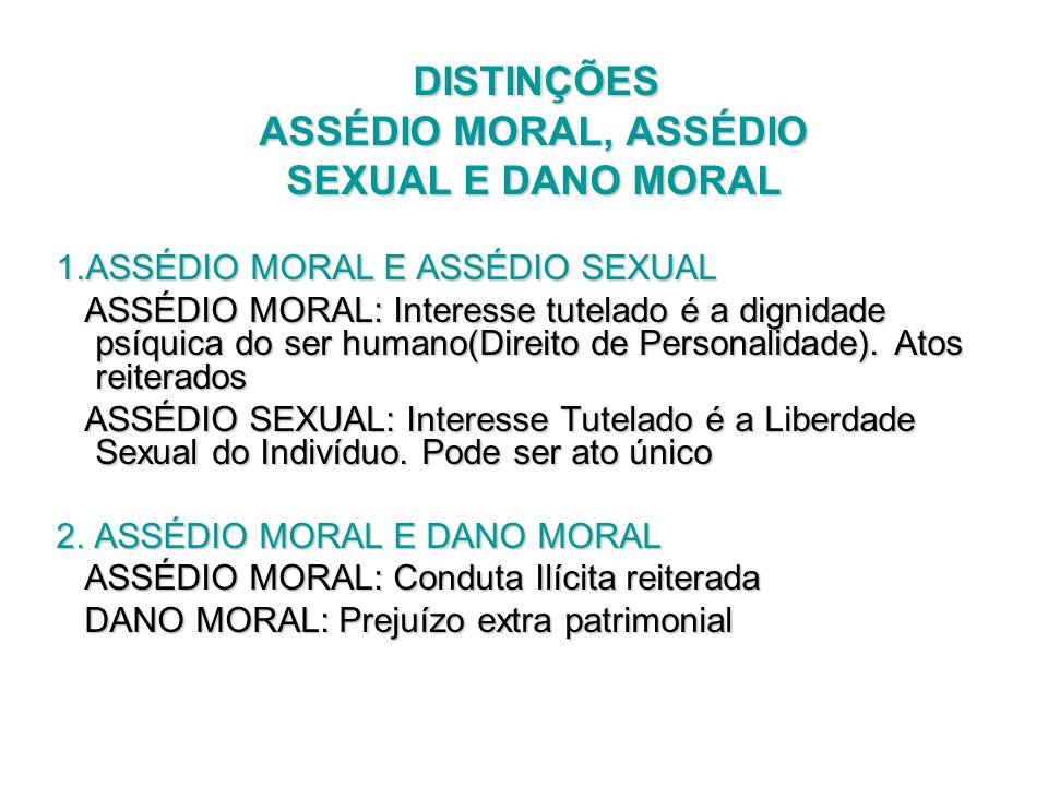DISTINÇÕES ASSÉDIO MORAL, ASSÉDIO SEXUAL E DANO MORAL