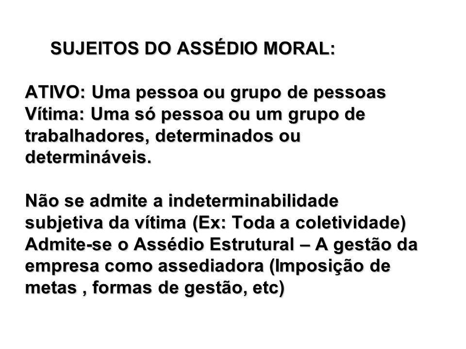 SUJEITOS DO ASSÉDIO MORAL: