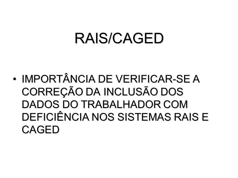RAIS/CAGED IMPORTÂNCIA DE VERIFICAR-SE A CORREÇÃO DA INCLUSÃO DOS DADOS DO TRABALHADOR COM DEFICIÊNCIA NOS SISTEMAS RAIS E CAGED.