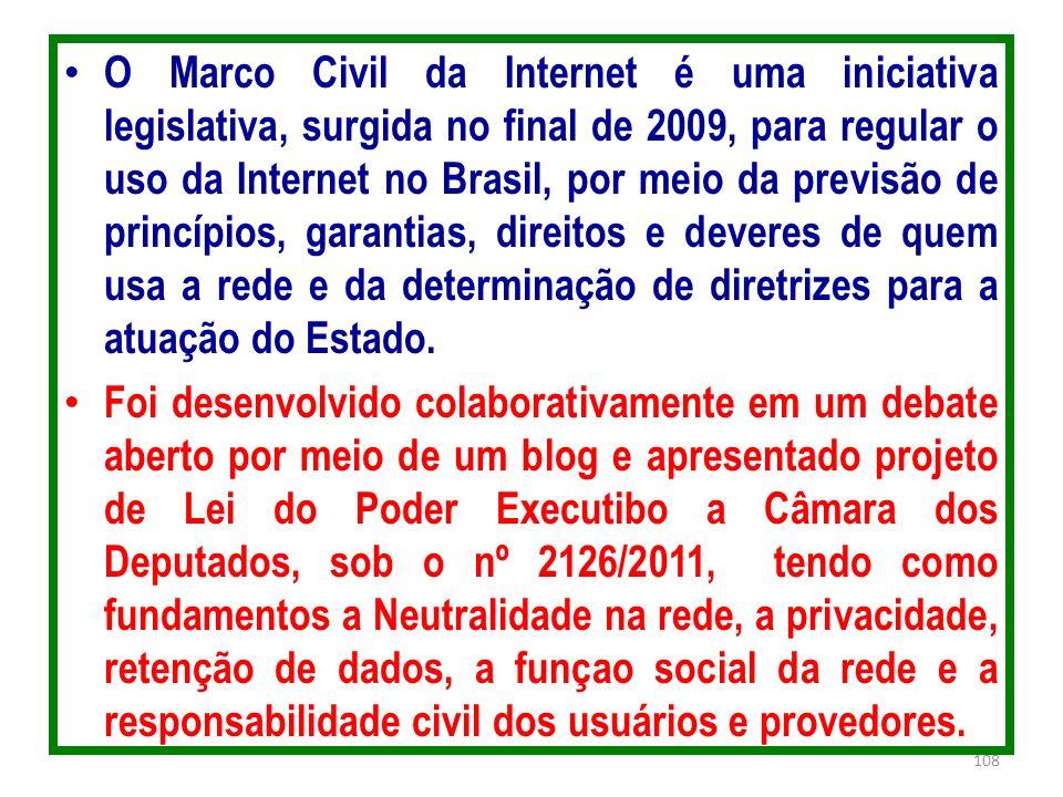 O Marco Civil da Internet é uma iniciativa legislativa, surgida no final de 2009, para regular o uso da Internet no Brasil, por meio da previsão de princípios, garantias, direitos e deveres de quem usa a rede e da determinação de diretrizes para a atuação do Estado.