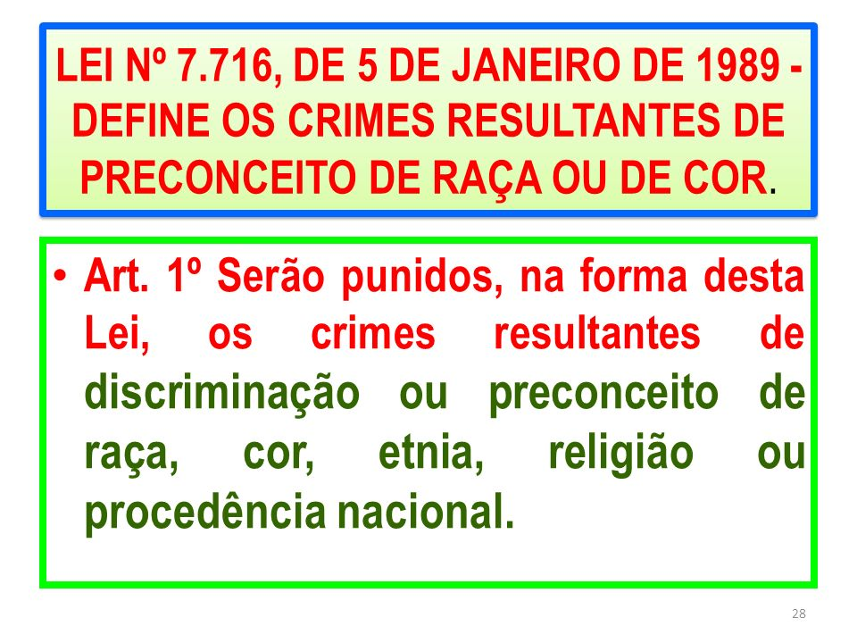 LEI Nº 7.716, DE 5 DE JANEIRO DE 1989 - DEFINE OS CRIMES RESULTANTES DE PRECONCEITO DE RAÇA OU DE COR.