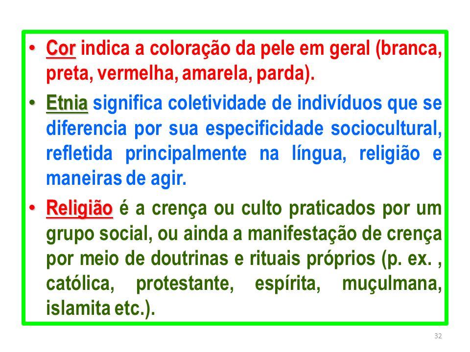 Cor indica a coloração da pele em geral (branca, preta, vermelha, amarela, parda).