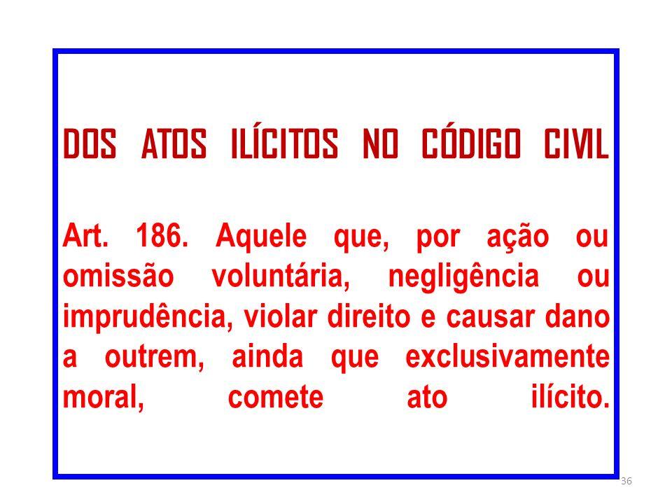 DOS ATOS ILÍCITOS NO CÓDIGO CIVIL Art. 186