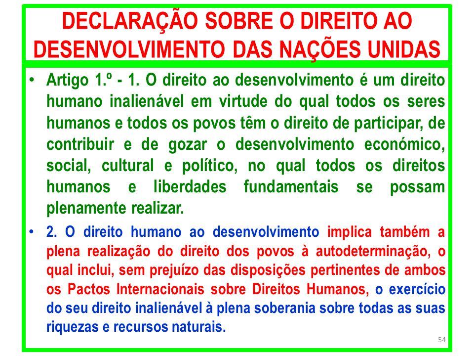 DECLARAÇÃO SOBRE O DIREITO AO DESENVOLVIMENTO DAS NAÇÕES UNIDAS