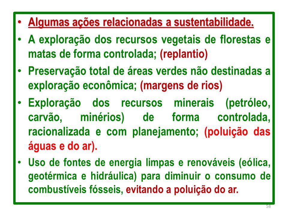 Algumas ações relacionadas a sustentabilidade.