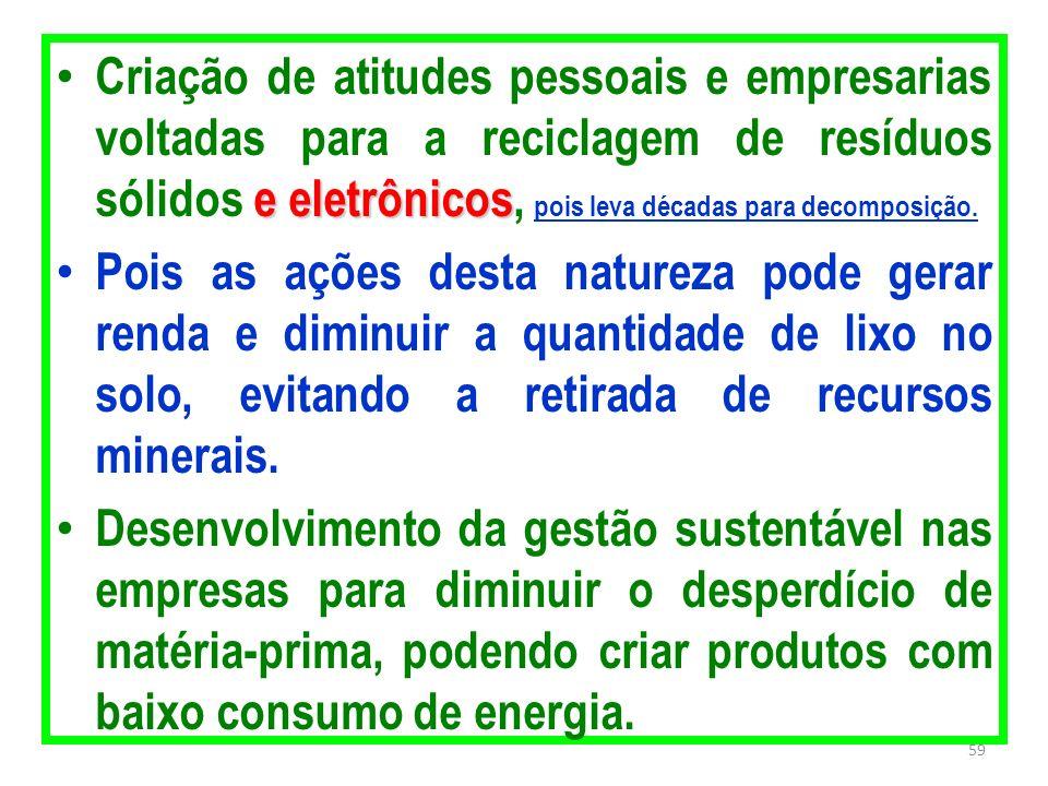 Criação de atitudes pessoais e empresarias voltadas para a reciclagem de resíduos sólidos e eletrônicos, pois leva décadas para decomposição.
