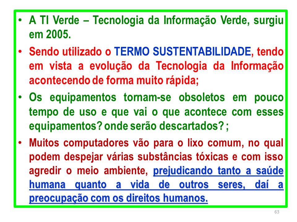 A TI Verde – Tecnologia da Informação Verde, surgiu em 2005.